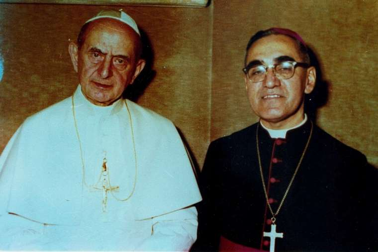 Pope Paul VI and Archbishop Oscar Romero pose together in an undated file photo. Photo courtesy of Oficina de Canonizacion de Mons. Oscar Romero.