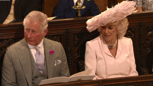 Prince Charles (Prince of Wales) and his wife Camilla (Duchess of Cornwall) at Windsor Castle during the wedding, 19 May 2018