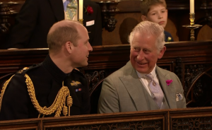 Prince William (L) and Prince Charles (R) at the wedding between Meghan Markle and Prince Harry at Windsor Castle, 19 May 2018