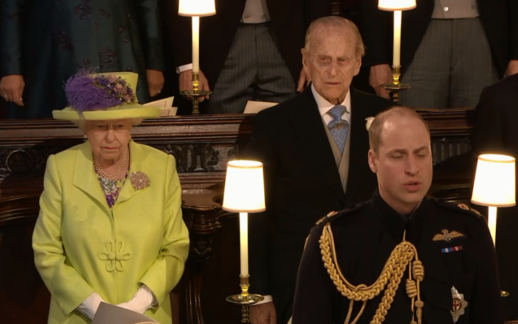 The Queen of England and Prince Philip, with Prince William in front at the wedding between Meghan Markle and Prince Harry at Windsor Castle, 19 May 2018