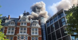 Fire at Mandarin Oriental Hotel in Knightsbridge, Central London, 6 June 2018