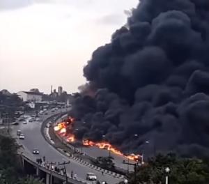 Petrol Tanker Burns On Otedola Bridge, Lagos, Nigeria, On 28 June 2018.