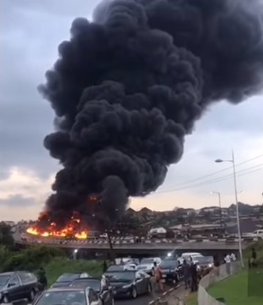 Petrol Tanker Burns On Otedola Bridge, Lagos, Nigeria, On 28 June 2018.