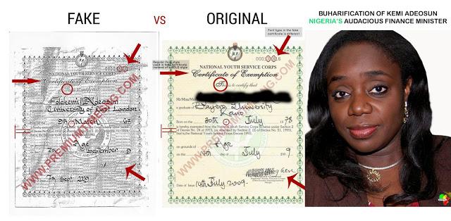 Kemi-Adeosuns Fake NYSC Certificate. Image credit farooqkperogi.com