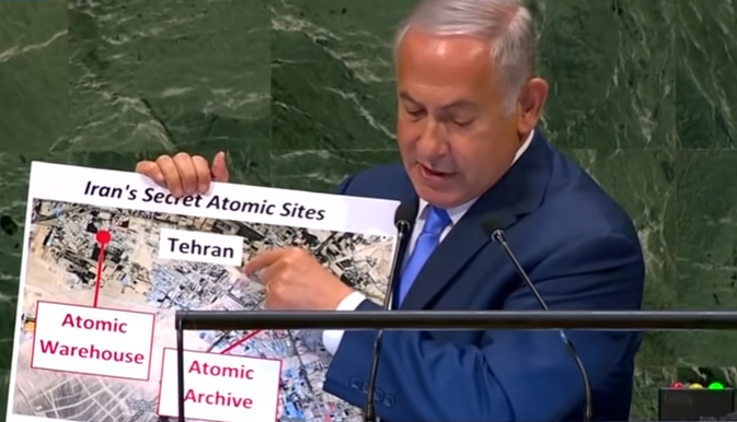 Benjamin Netanyahu displaying a visual document of what he claims is the location of Iranian secret atomic warehouse/sites