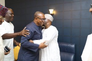 Alhaji Atiku Abubakar and Peter Gregory OBI warmly embrace