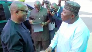 Governor Ifeanyi Ugwuanyi (right) and Former Governor Peter Obi
