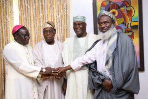 L-R: Bishop Kukah, Olusegun Obasanjo, Atiku Abubakar, Sheikh Gumi