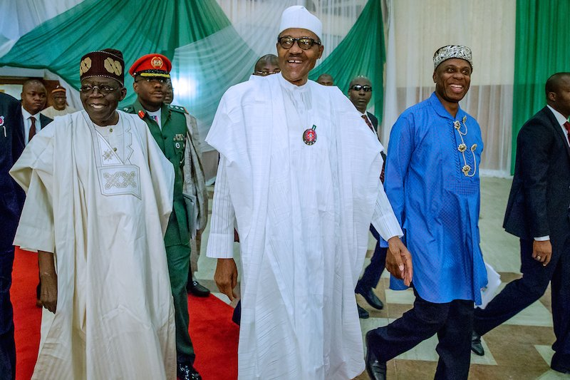 Bola Tinubu (L), Muhammadu Buhari (M) and Rotimi Amaechi (R) were at the APC presidential campaign council inaugural meeting