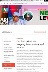 Plagiarism as Nigeria's ruling party, APC pledges to keep the United States safe, copying U.S. President Donald Trump's mantra