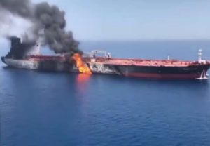 Allegedly attacked oil tanker burns in Gulf Of Oman, June 13, 2019