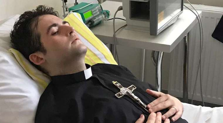 Fr. Michel Los was ordained in a Warsaw hospital a few weeks before his death. Credit Orionine Fathers, courtesy photo.