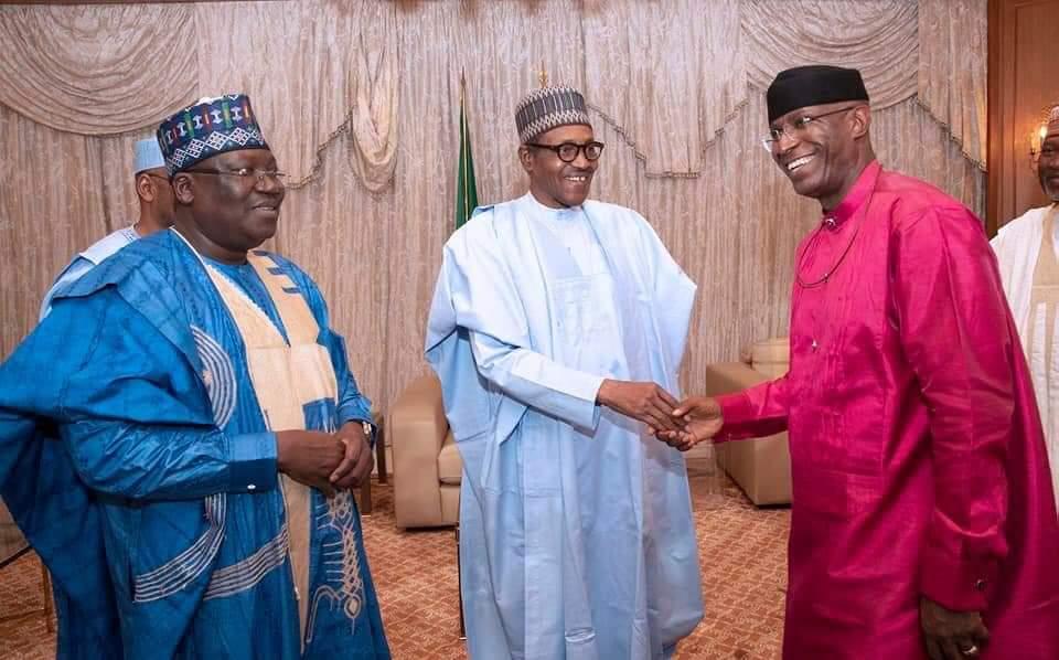 Senate President Ahmad Lawan (L), President Buhari (C) Deputy Senate President, Ovie Omo-Agege (R), 11 June 2019