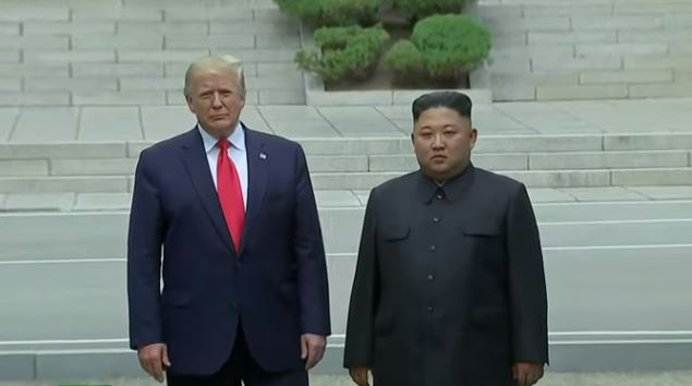 Donald Trump is the first sitting U.S. president to cross the DMZ between the two Koreas, meeting with N. Korean leader Kim Jong-un, 30 June 2019