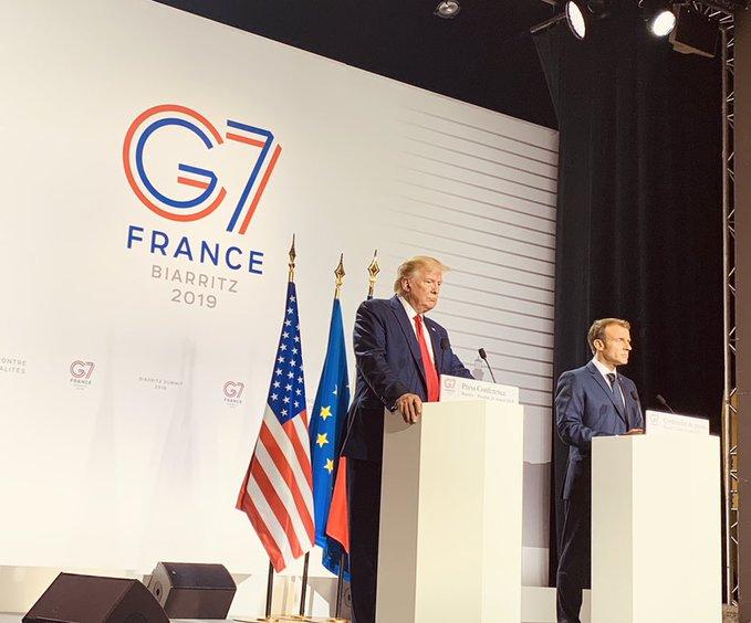 Donald Trump (L), Emmanuel Macron (R). (Image from Twitter/@PressSec)