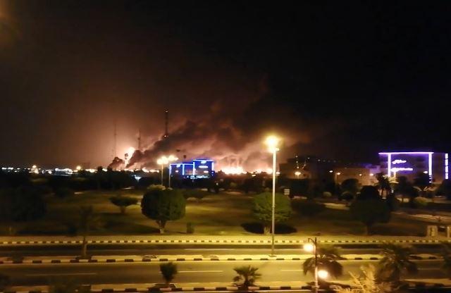 Fire at an Aramco's factory, Abqaiq oil processing facility, Saudi Arabia, Sept. 14, 2019