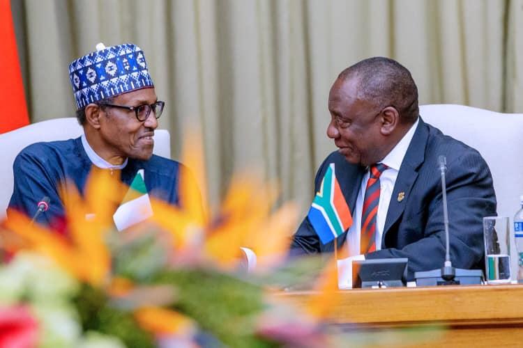 Muhammadu Buhari (L) and Cyril Ramaphosa. (Image credit: Nigeria presidency/Garba Shehu)