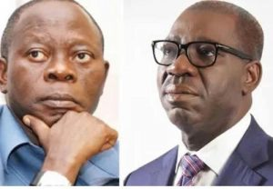 Adams Oshiomhole (L) and Godwin Obaseki
