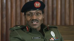 Major General Muhammadu Buhari as Nigerian Head of State under a military rule