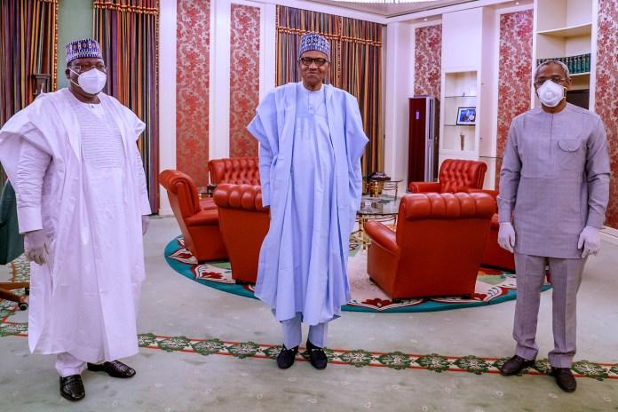Senate President Ahmed Lawan, Nigeria President Muhammadu Buhari, and House of Representatives Speaker Femi Gbajabiamila