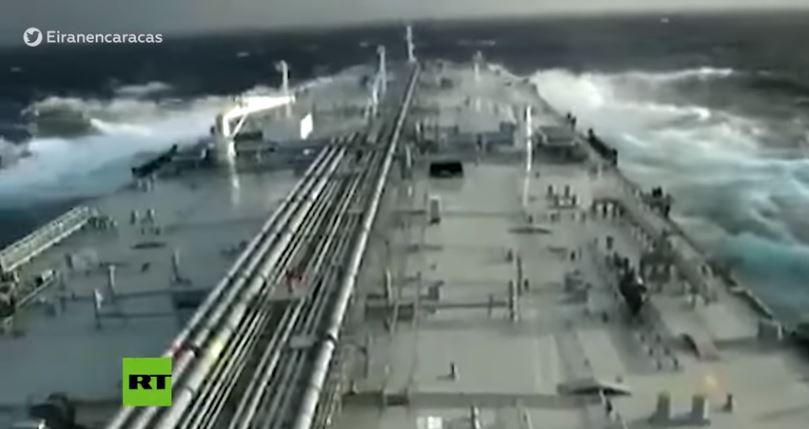 Iranian-flagged tanker named 'Fortune' as it journeyed to Venezuela. (Screenshot of RT video)