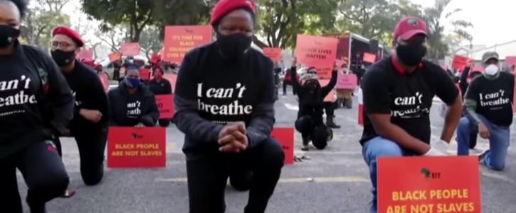 Black Lives Matter - Julius Malema, the leader of South Africa's opposition party known as the Economic Freedom Fighters (EFF), kneels during a protest, 8 June 2020