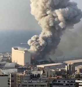 An explosion rips parts of a port near central Beirut, Lebanon, 4 August 2020