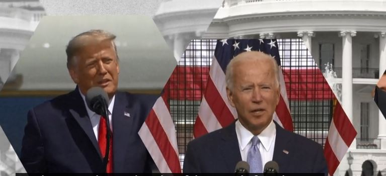 Donald Trump (L) and Joe Biden (R)