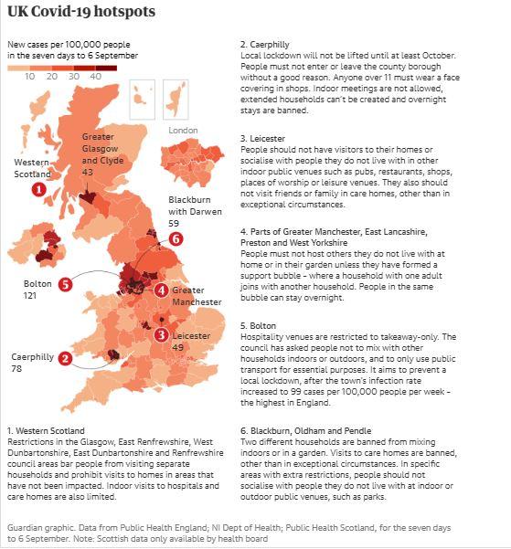 UK Covid-19 hotspots, 8 September 2020
