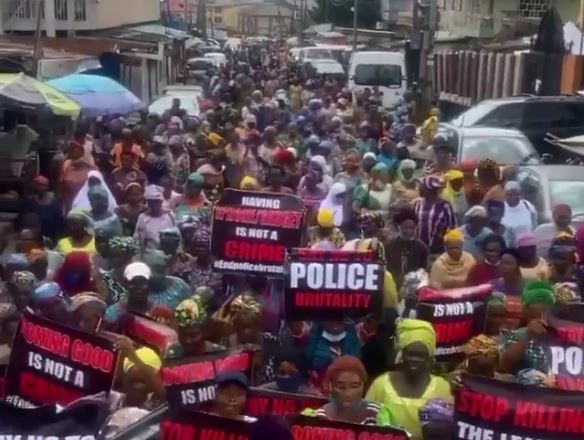 #EndSARSprotests- Women, mainly mothers, protesting Nigeria Police brutality, October 2020
