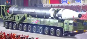 North Korean Hwasong-12 intercontinental ballistic missiles during a parade to mark the 75th anniversary of the Workers' Party of Korea, 10 October 2020