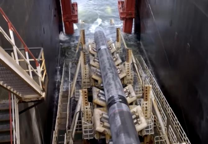 Underwater pipeline being laid